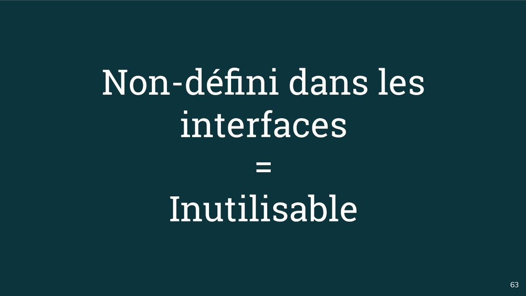63 Non-défini dans les interfaces = Inutilisable