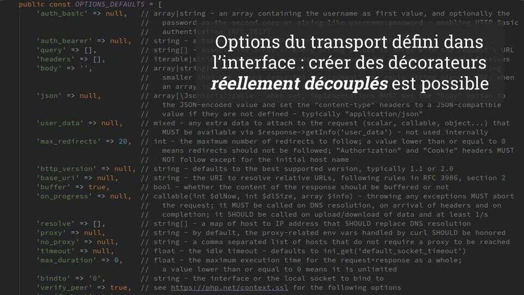 72 Options du transport défini dans l'interface ...