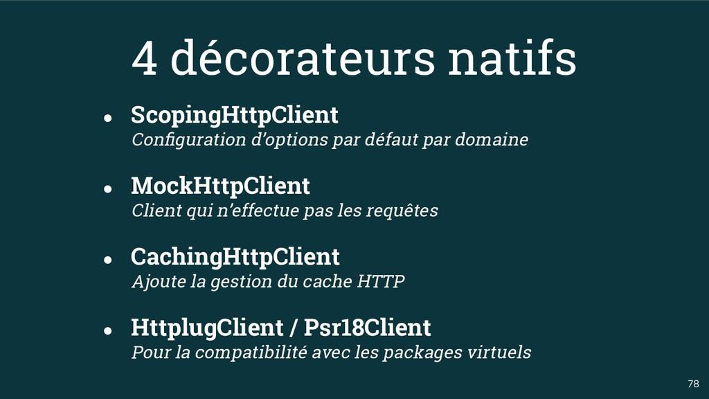 78 4 décorateurs natifs ● ScopingHttpClient Con...