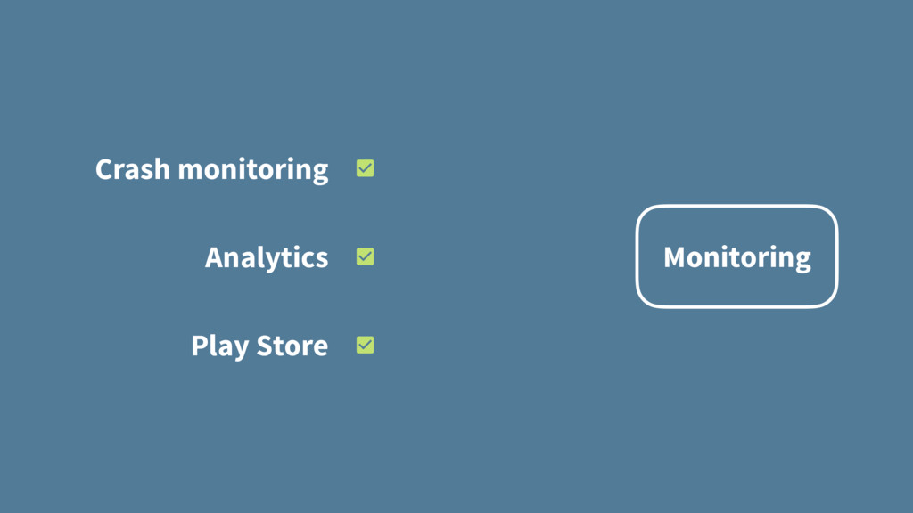 Monitoring Crash monitoring Analytics Play Store