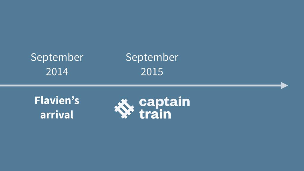 September 2014 Flavien's arrival September 2015