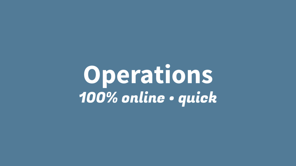 Operations 100% online • quick