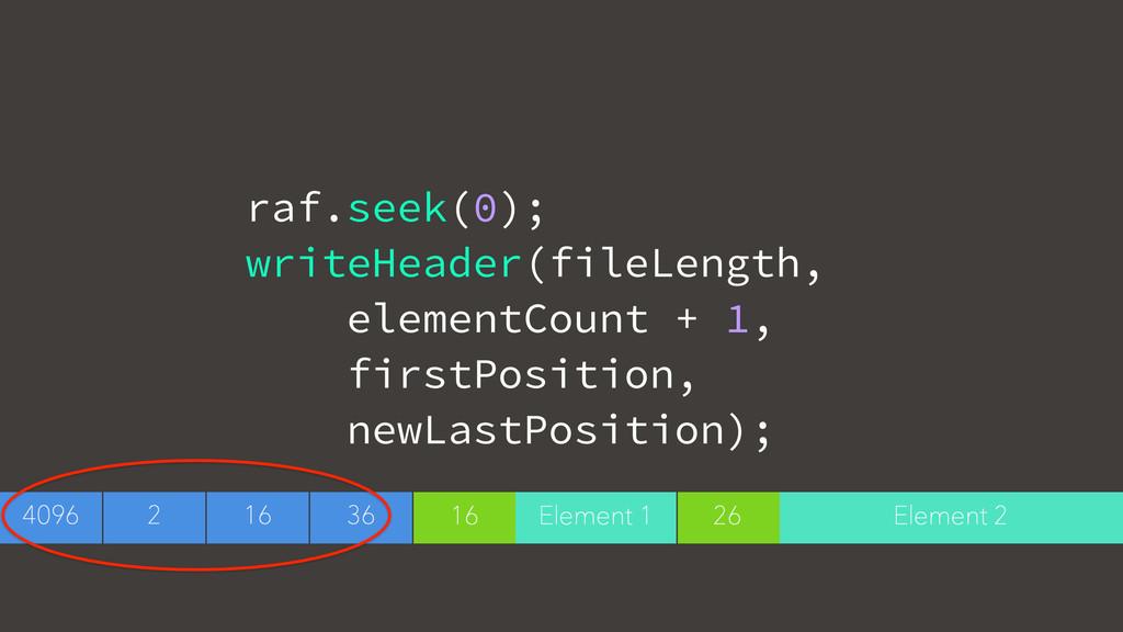 raf.seek(0); writeHeader(fileLength, elementCou...