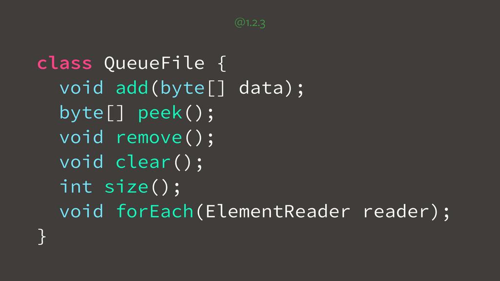 class QueueFile { void add(byte[] data); byte[]...