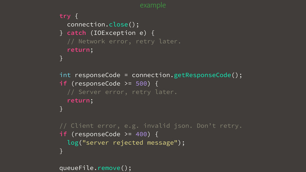 try { connection.close(); } catch (IOException ...