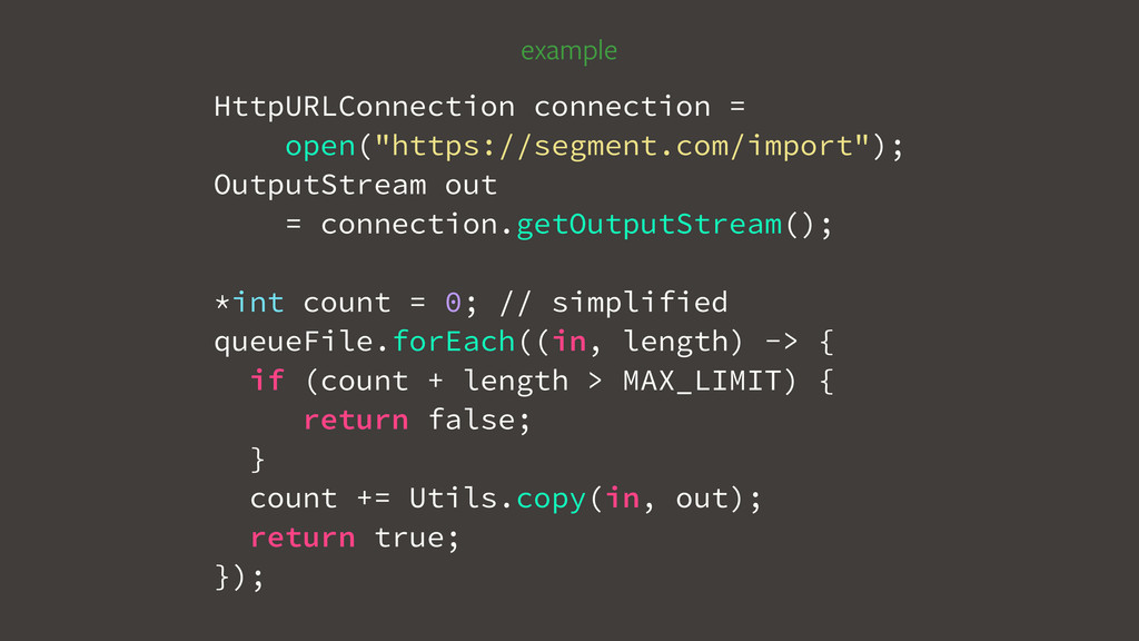 """example HttpURLConnection connection = open(""""ht..."""