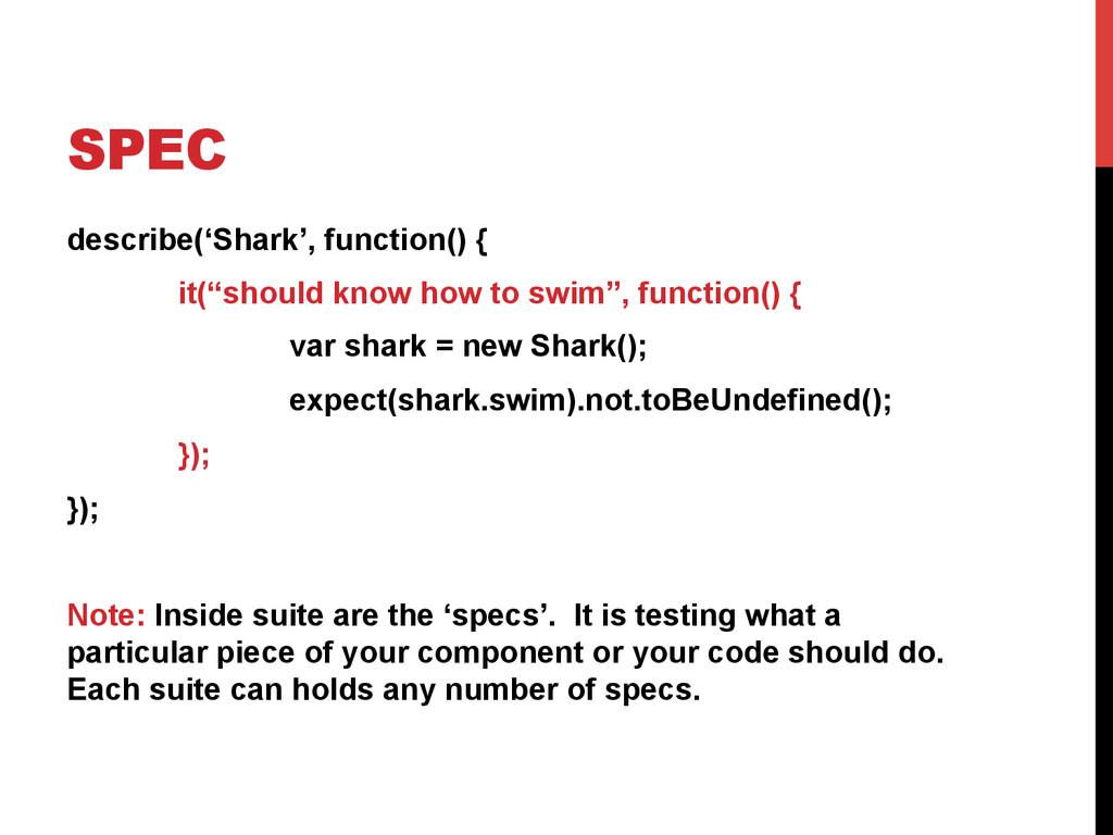 "SPEC describe('Shark', function() { it(""should ..."