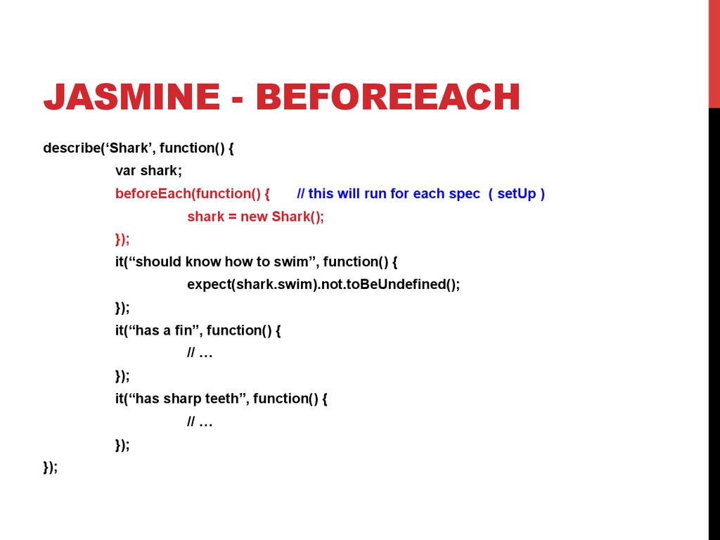 JASMINE - BEFOREEACH describe('Shark', function...