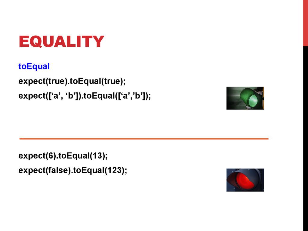 EQUALITY toEqual expect(true).toEqual(true); ex...