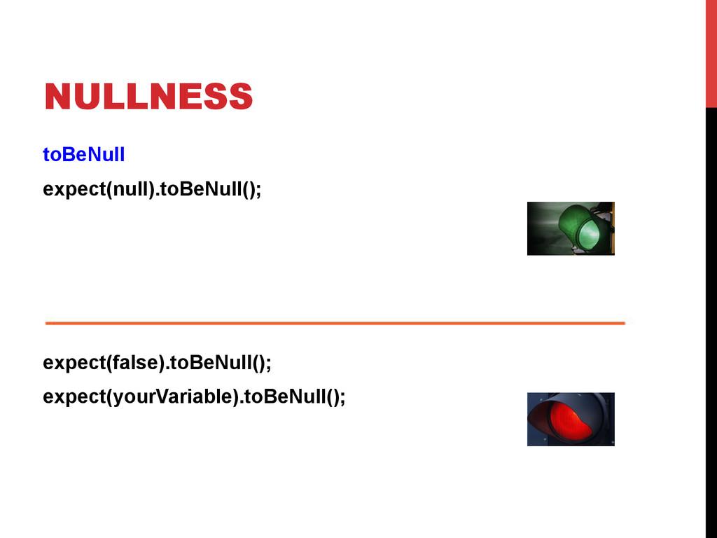 NULLNESS toBeNull expect(null).toBeNull(); expe...