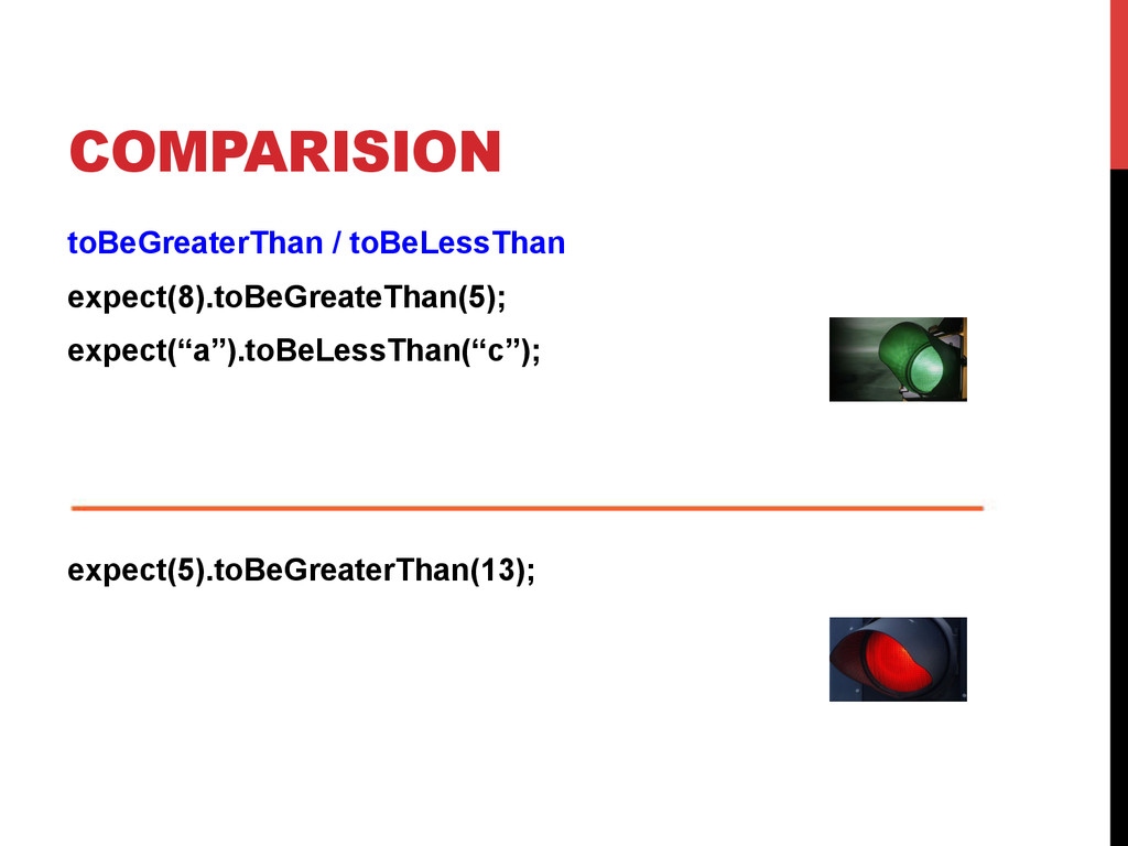 COMPARISION toBeGreaterThan / toBeLessThan expe...