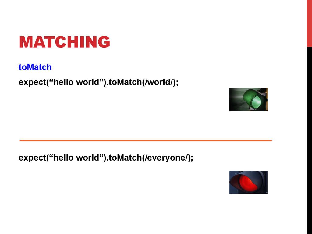 "MATCHING toMatch expect(""hello world"").toMatch(..."