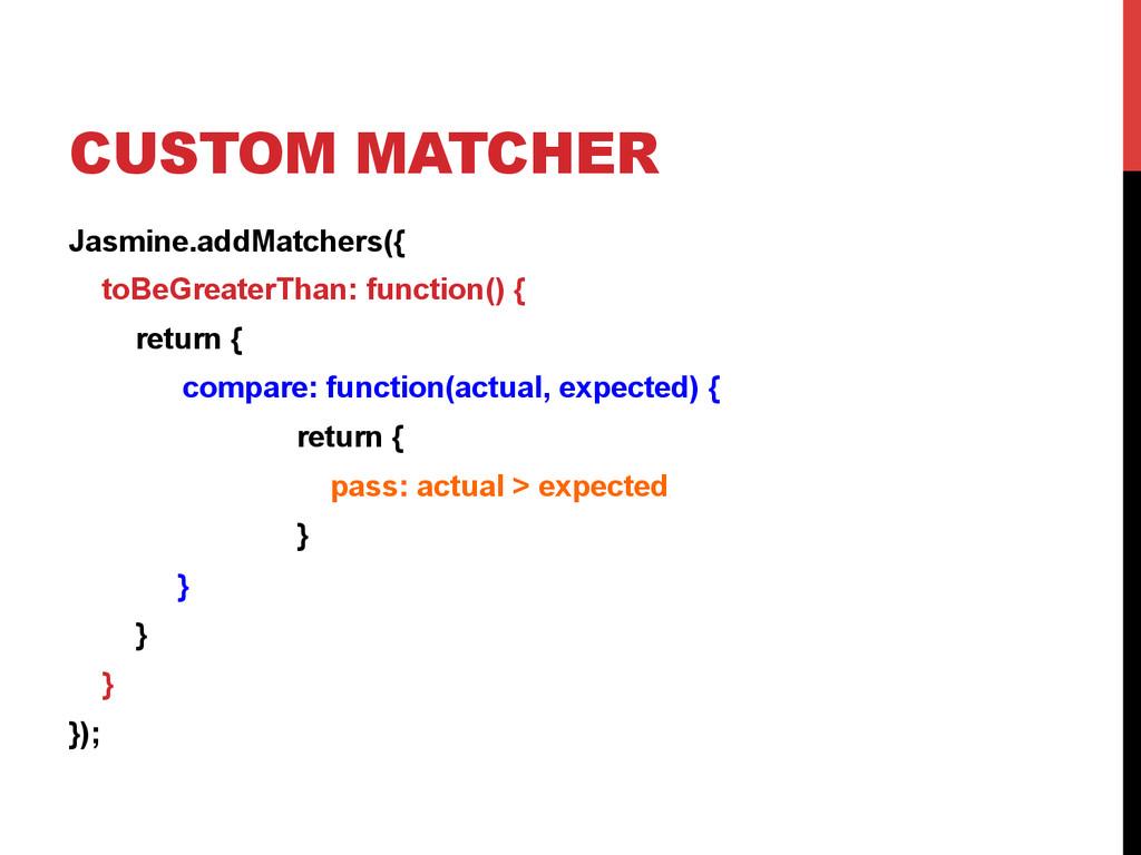 CUSTOM MATCHER Jasmine.addMatchers({ toBeGreate...