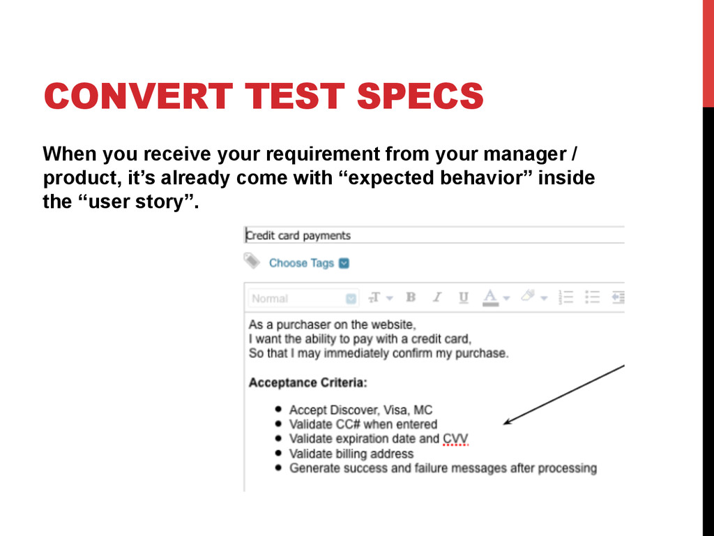 CONVERT TEST SPECS When you receive your requir...