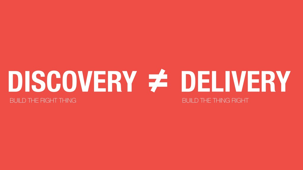 DELIVERY ≠ DISCOVERY BUILD THE RIGHT THING BUIL...
