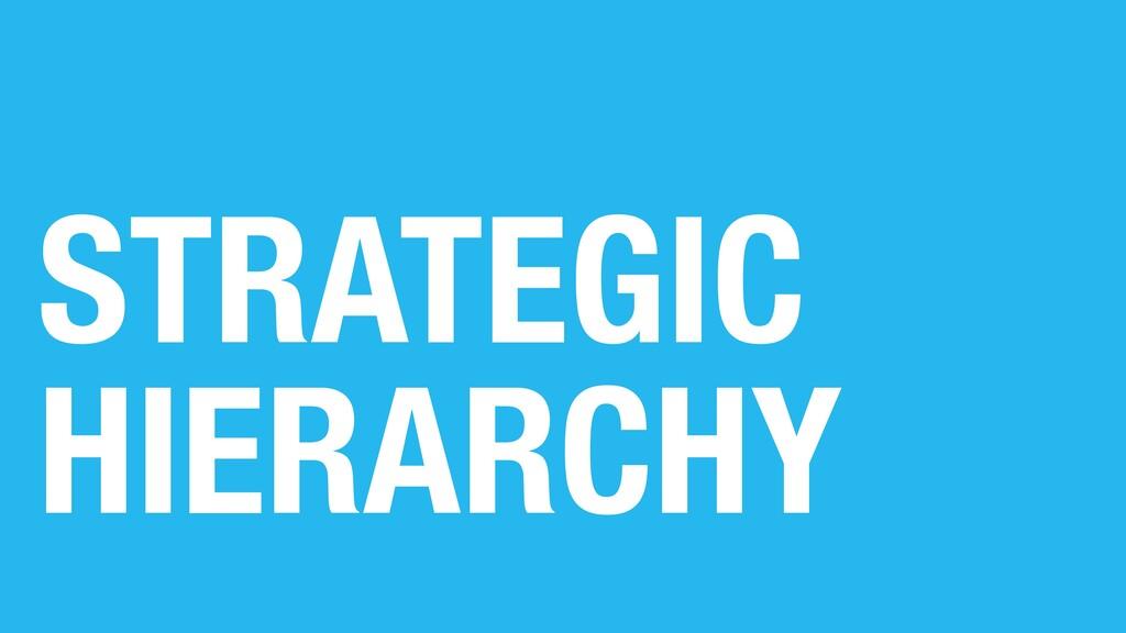 STRATEGIC HIERARCHY