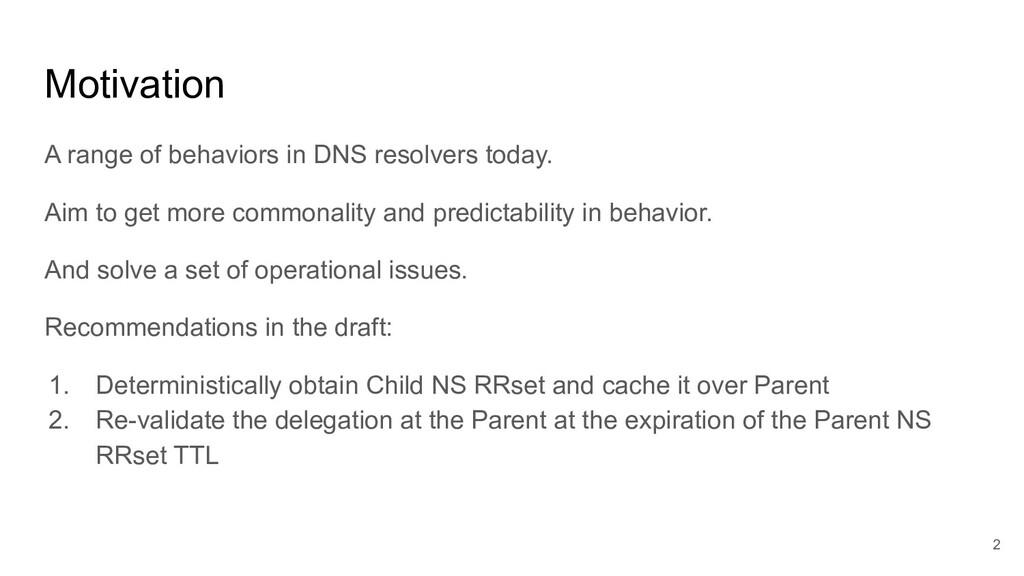 Motivation A range of behaviors in DNS resolver...