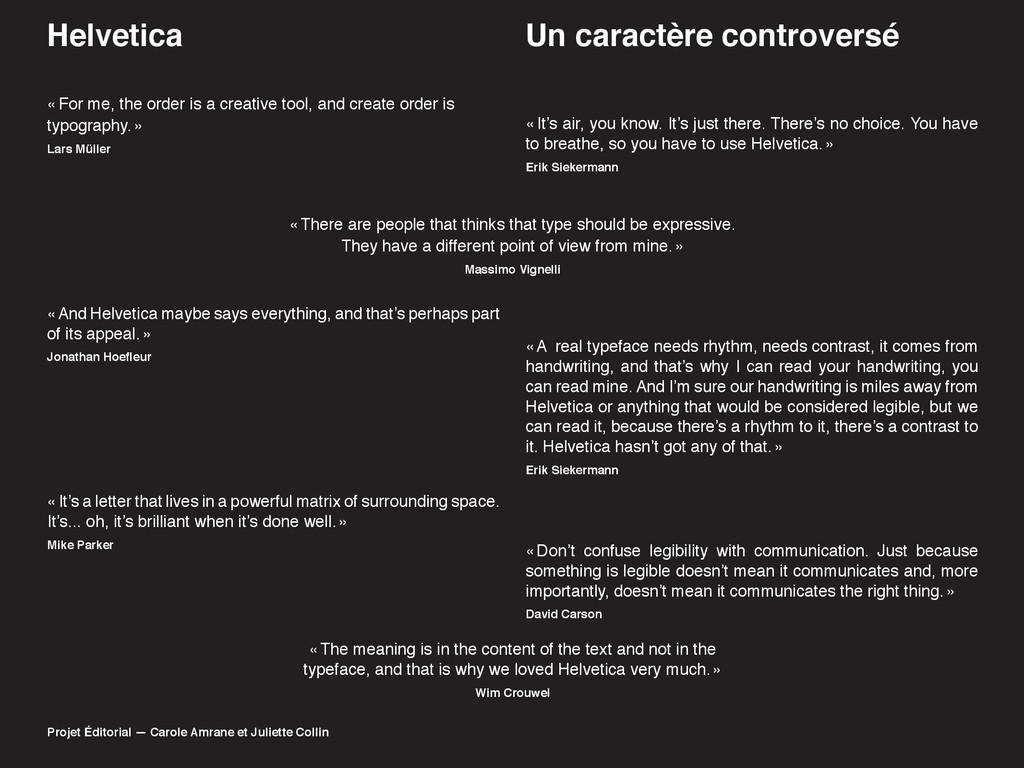 Helvetica Projet Éditorial — Carole Amrane et J...