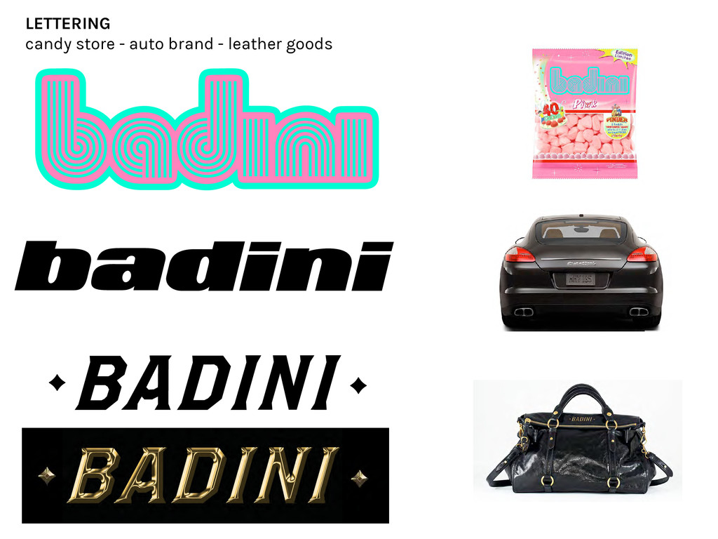 LETTERING candy store - auto brand - leather go...