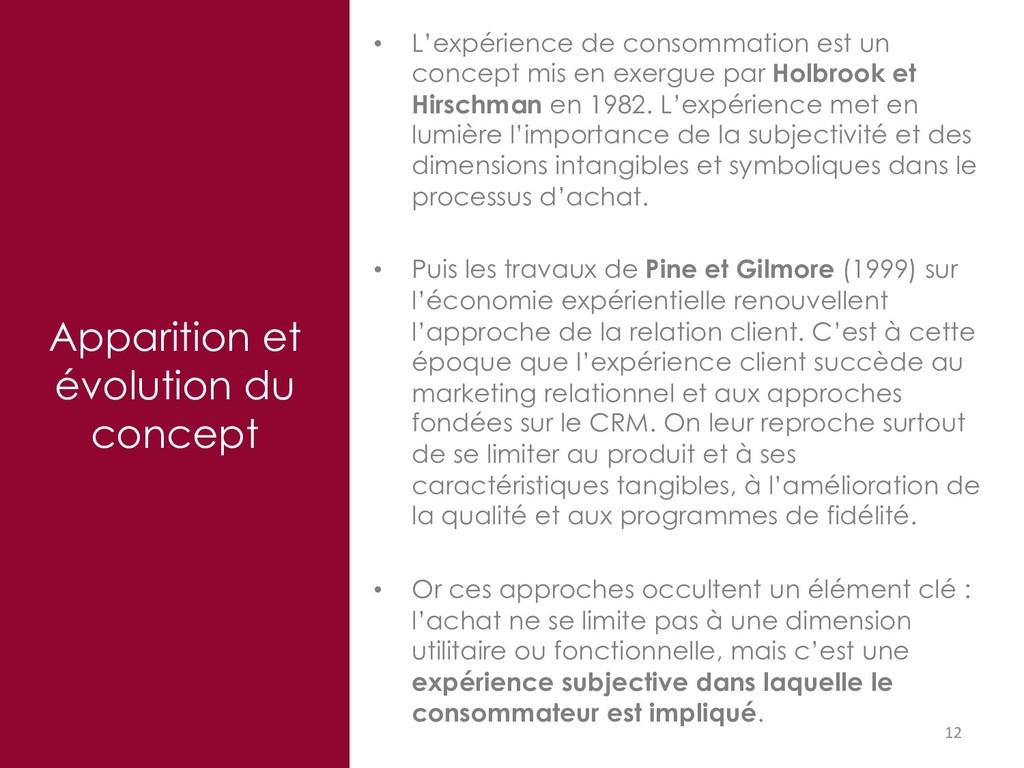 12 Apparition et évolution du concept • L'expér...