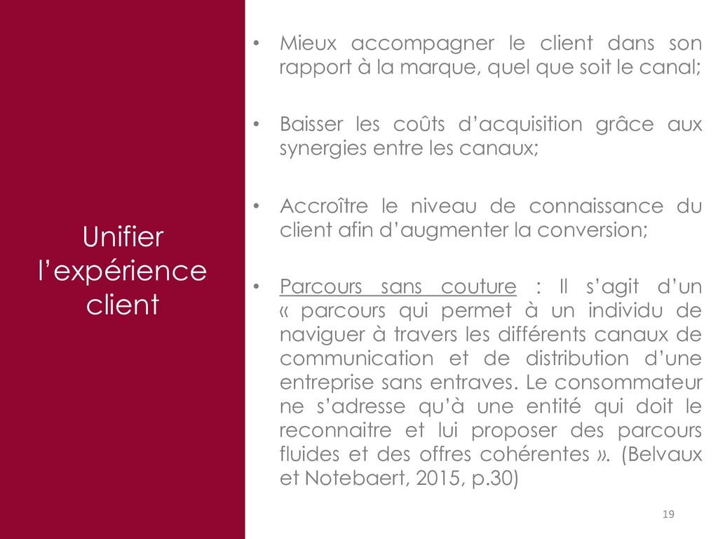 Unifier l'expérience client 19 • Mieux accompag...