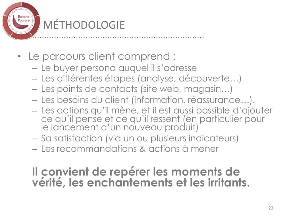 MÉTHODOLOGIE 22 • Le parcours client comprend :...