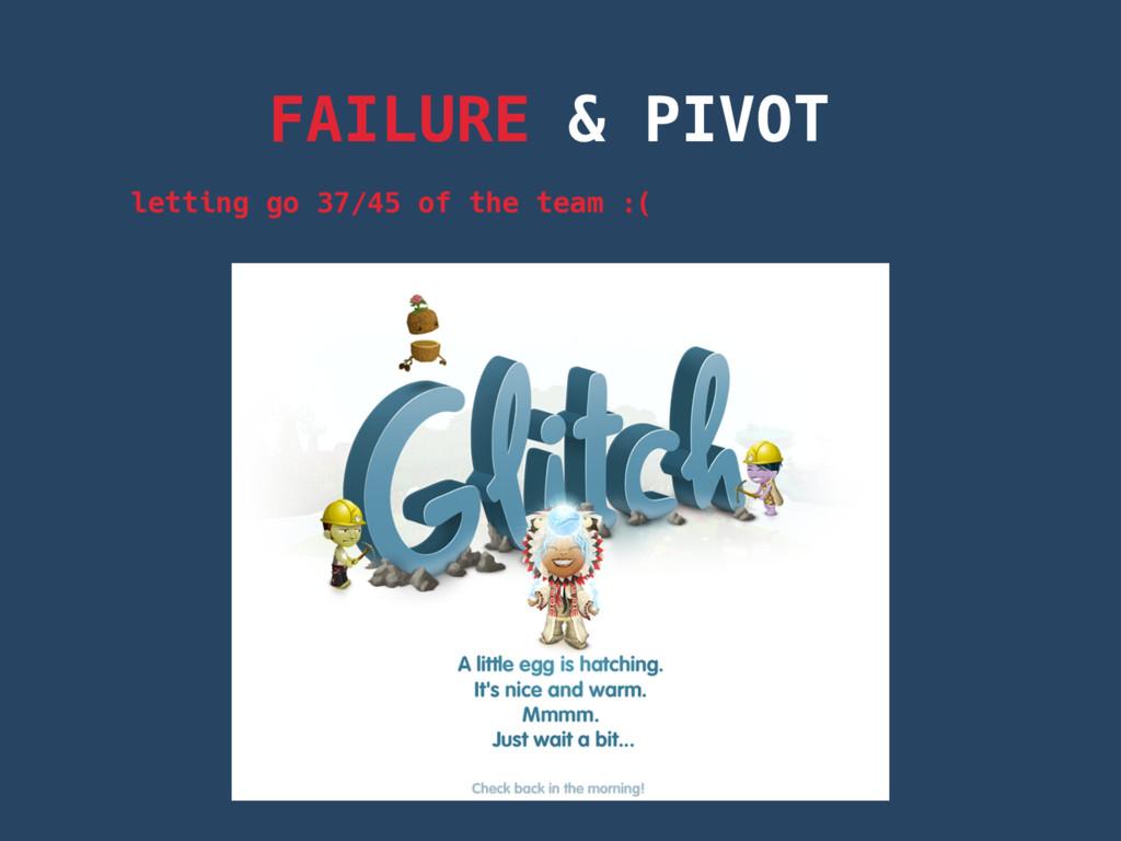 FAILURE & PIVOT letting go 37/45 of the team :(
