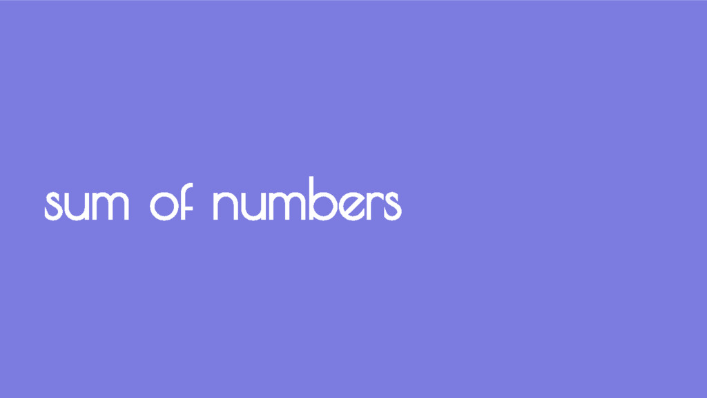 sum of numbers