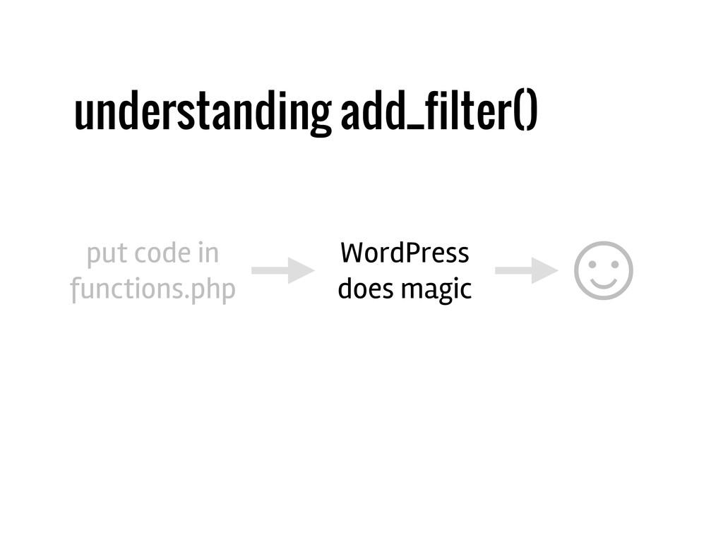 understanding add_filter() put code in function...