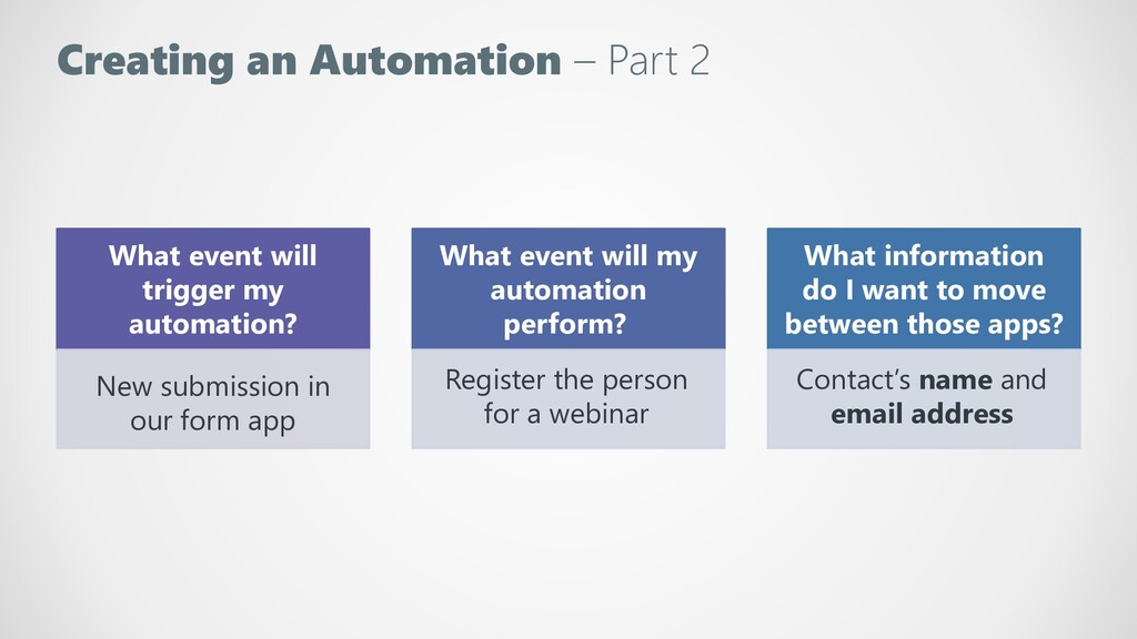 Creating an Automation – Part 2 What event will...