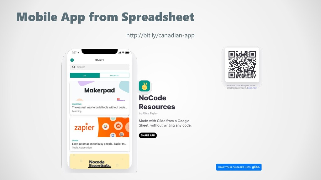 Mobile App from Spreadsheet http://bit.ly/canad...