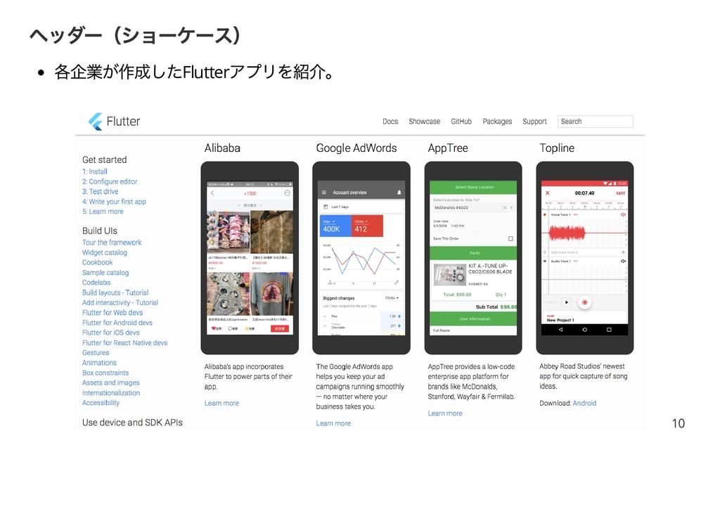 ヘッダー(ショーケース) 各企業が作成したFlutter アプリを紹介。 10