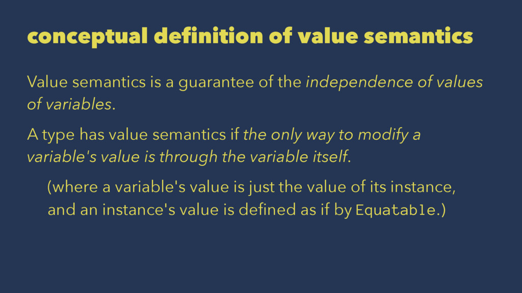 conceptual definition of value semantics Value ...