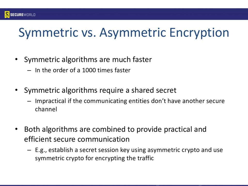 Symmetric vs. Asymmetric Encryption • Symmetric...