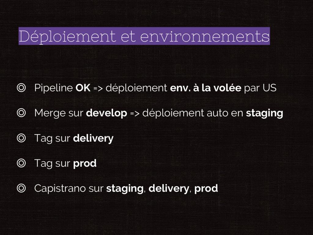 Déploiement et environnements ◎ Pipeline OK => ...