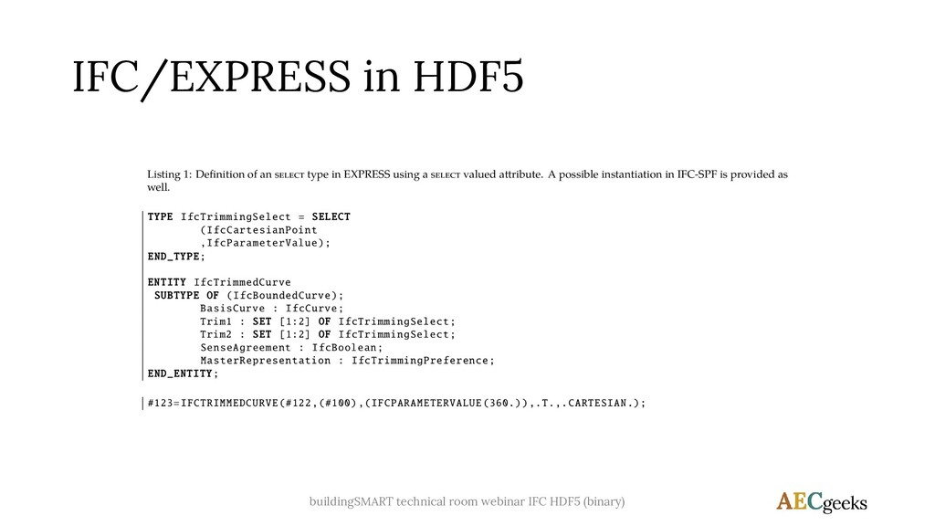 IFC/EXPRESS in HDF5 buildingSMART technical roo...