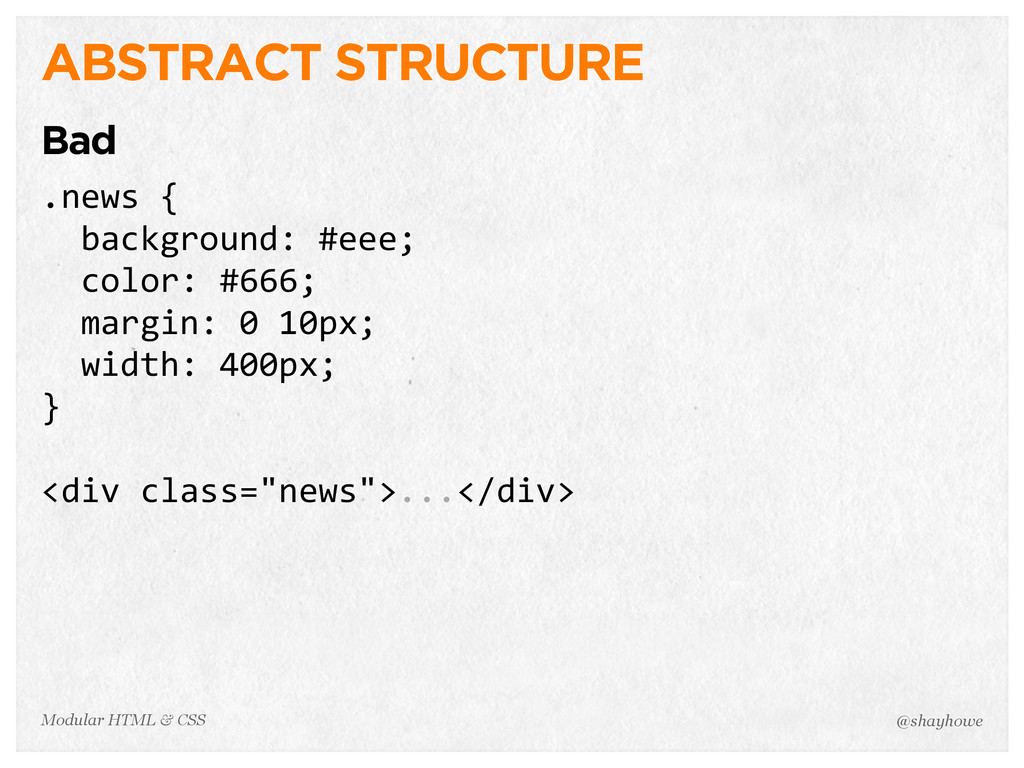 @shayhowe Modular HTML & CSS ABSTRACT STRUCTURE...