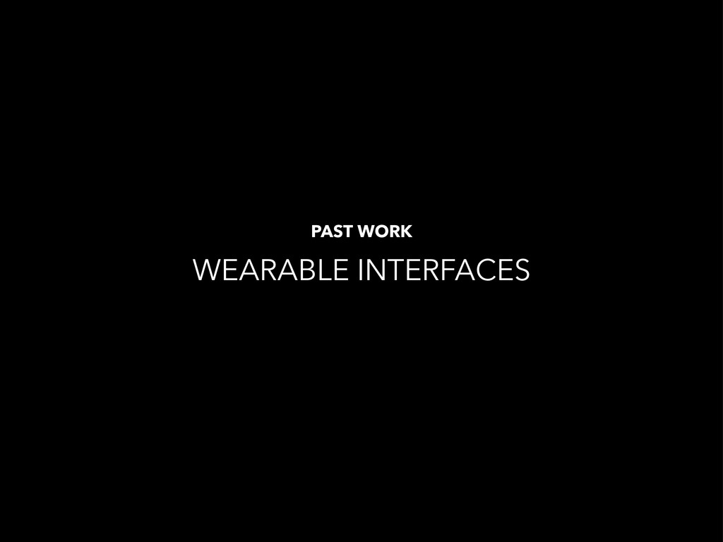 WEARABLE INTERFACES PAST WORK