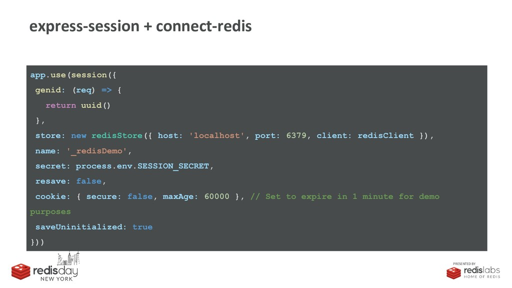 PRESENTED BY express-session + connect-redis ap...