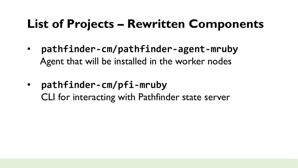 List of Projects – Rewritten Components • pathf...