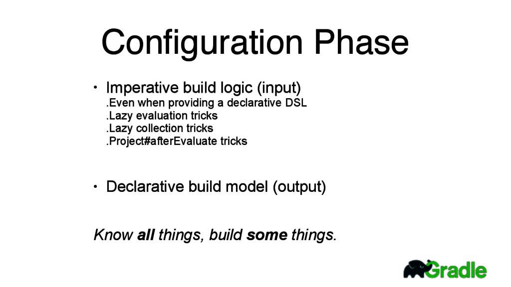 Configuration Phase • Imperative build logic (in...