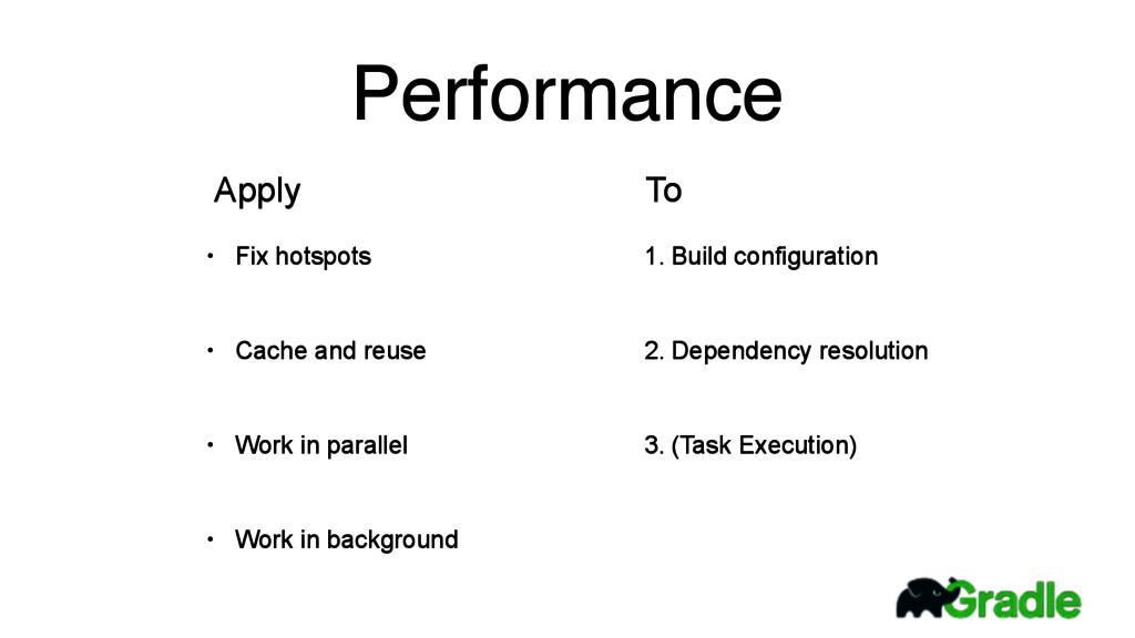 Performance • Fix hotspots • Cache and reuse • ...