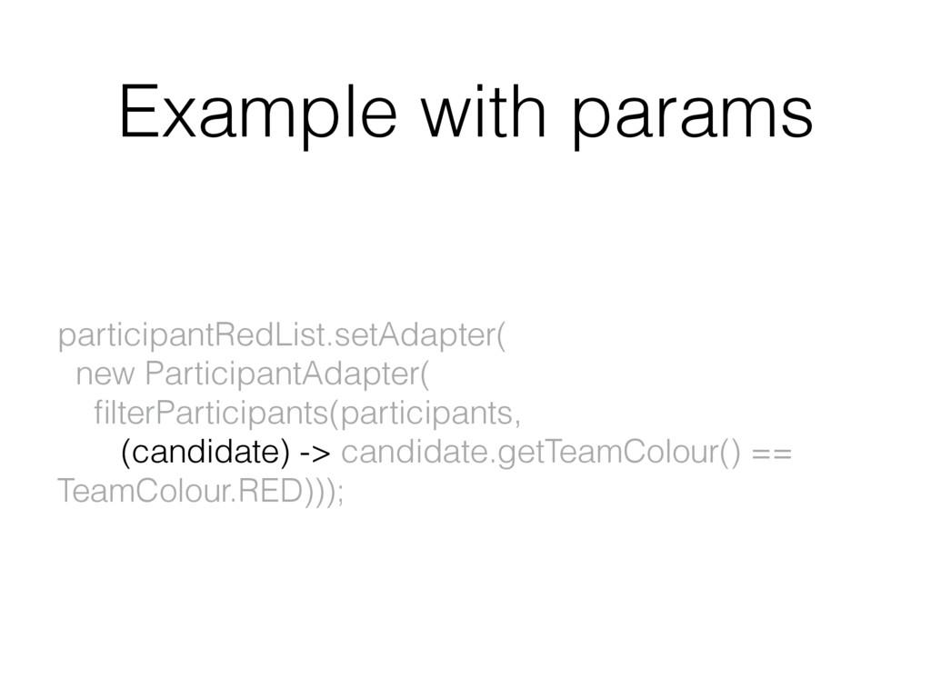 Example with params participantRedList.setAdapt...