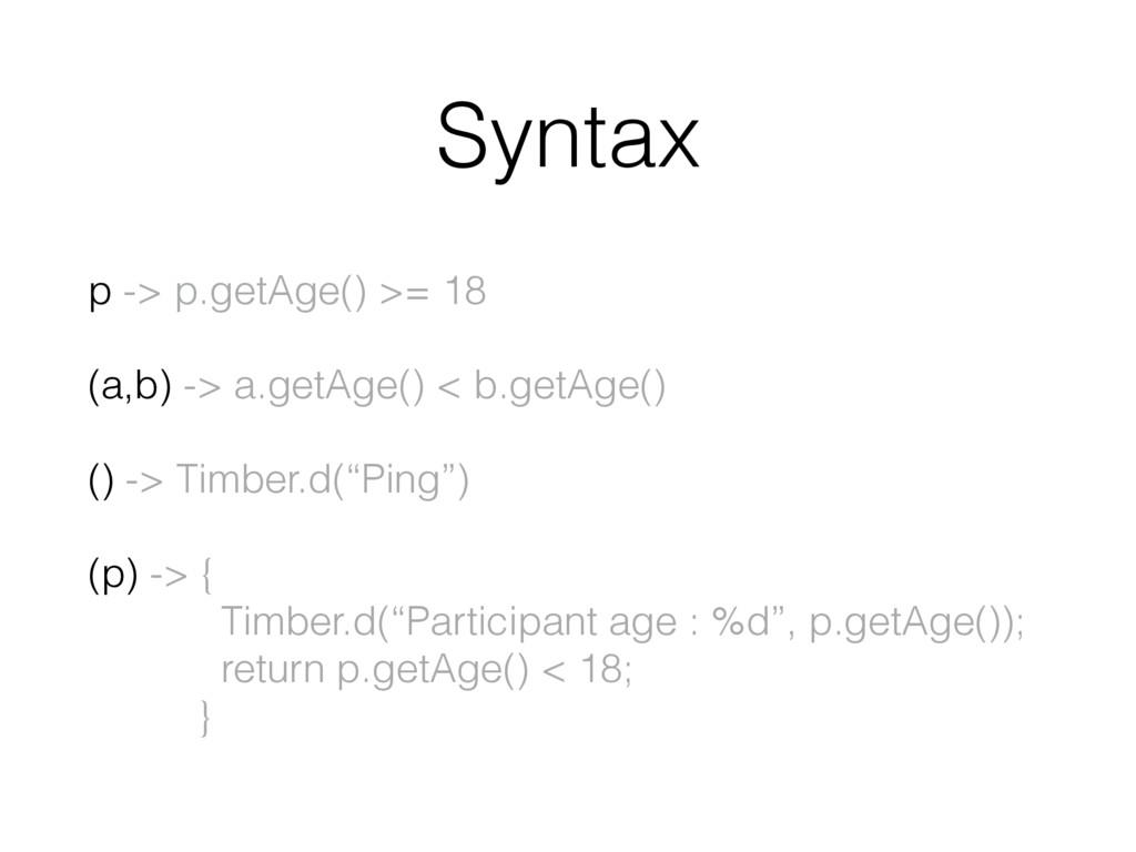 Syntax p -> p.getAge() >= 18 (a,b) -> a.getAge(...