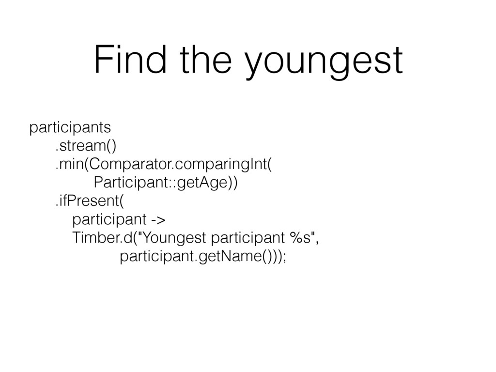 Find the youngest participants .stream() .min...