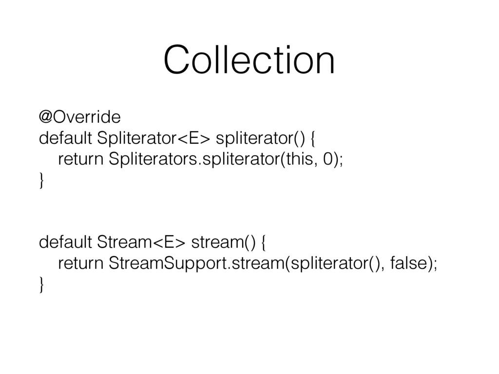 Collection @Override default Spliterator<E> sp...