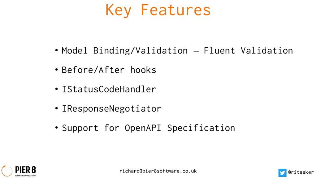 richard@pier8software.co.uk @ritasker Key Featu...