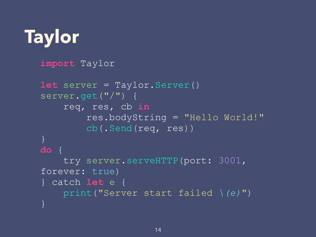 Taylor 14 import Taylor let server = Taylor.Ser...