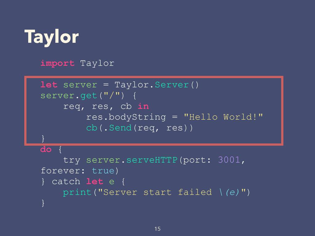 Taylor 15 import Taylor let server = Taylor.Ser...
