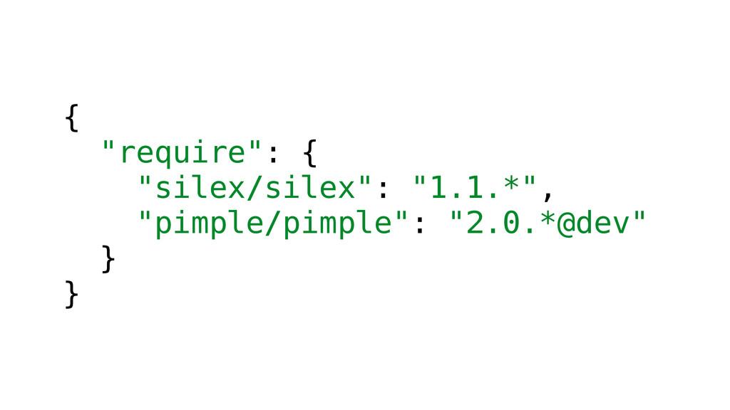 """{ """"require"""": { """"silex/silex"""": """"1.1.*"""", """"pimple/..."""
